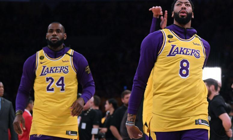 Portland Trail Blazers v Los Angeles Lakers: LeBron James and Anthony Davis in Kobe Bryant's numbers