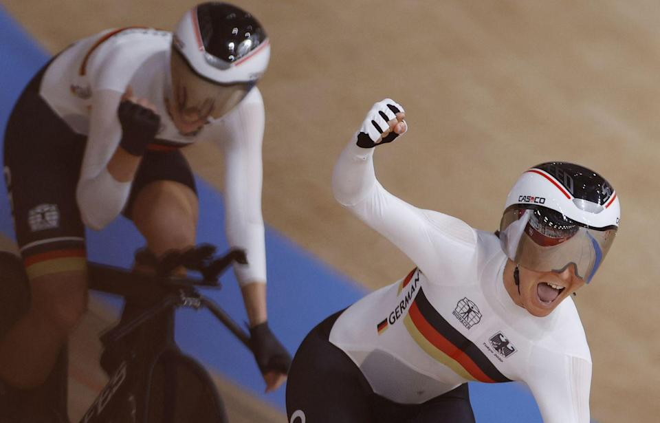 <p>Germany smashed the women's team cycling heat as Franziska Brausse, Lisa Brennauer, Lisa Klein and Mieke Kroeger crossed the 4km finish line in a time on 3:07:307 seconds. They made a new record, pipping team GB to the post, who previously held the record with a time of 4:10.236.</p>