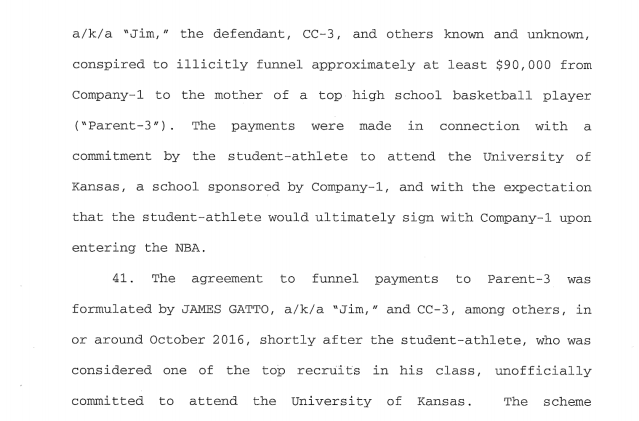 Federal charges allege mother of top recruit received $90,000 for son to commit to play at Kansas.