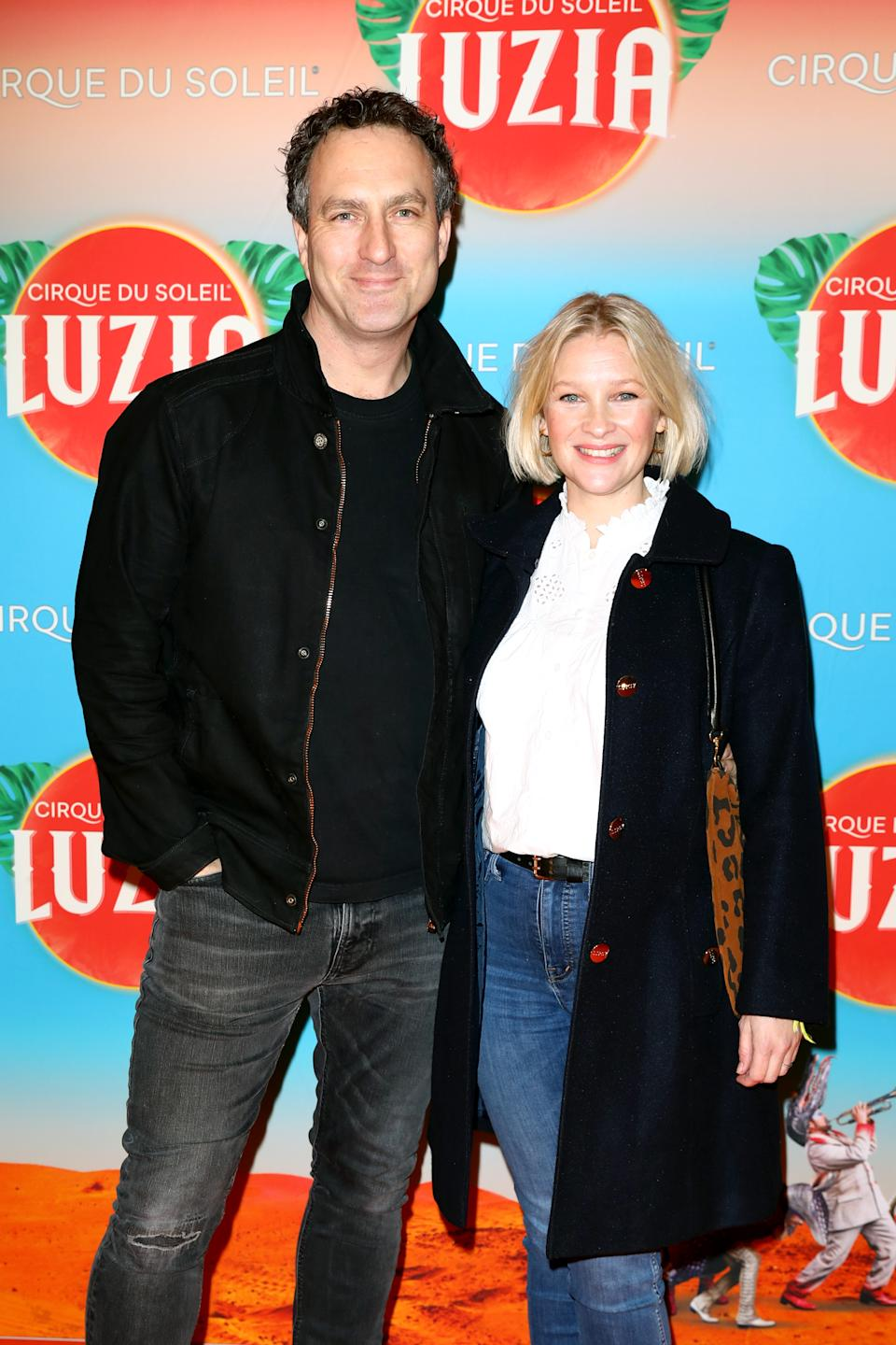 LONDON, ENGLAND - JANUARY 15: Joanna Page (R) and James Thornton attend Cirque du Soleil's