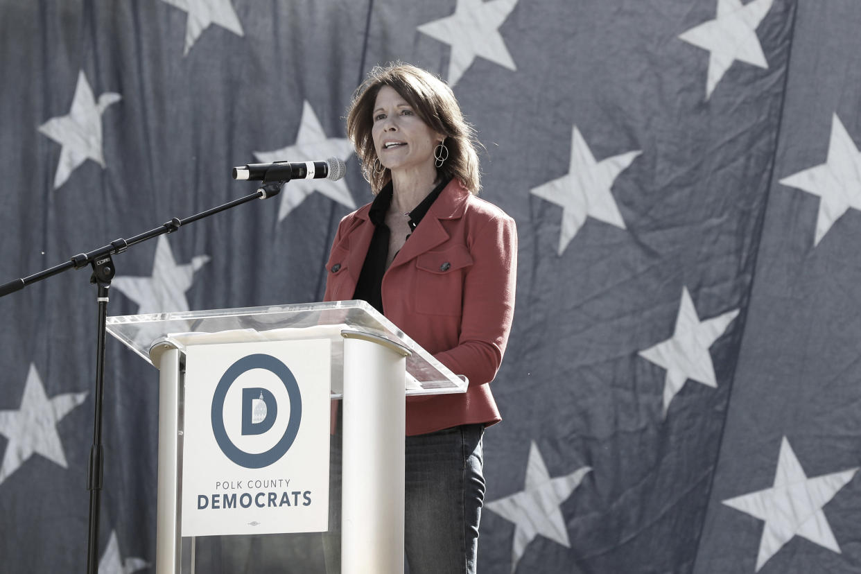 Rep. Cheri Bustos, D-Ill., speaks during the Polk County Democrats Steak Fry, Sept. 30, 2017, in Des Moines, Iowa. (AP Photo: Charlie Neibergall/AP)
