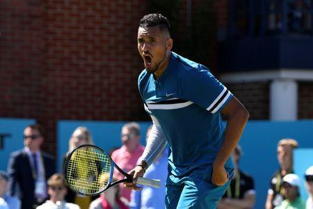 Tennis - ATP 500 - Fever-Tree Championships - The Queen's Club, London, Britain - June 22, 2018 Australia's Nick Kyrgios celebrates after winning his quarter final match against Spain's Feliciano Lopez Action Images via Reuters/Tony O'Brien