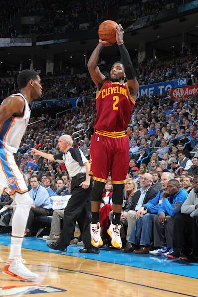 OKLAHOMA CITY, OK - FEBRUARY 26: Kyrie Irving #2 of the Cleveland Cavaliers shoots the ball against the Oklahoma City Thunder during an NBA game on February 26, 2014 at the Chesapeake Energy Arena in Oklahoma City, Oklahoma. (Photo by Layne Murdoch Jr. /NBAE via Getty Images)