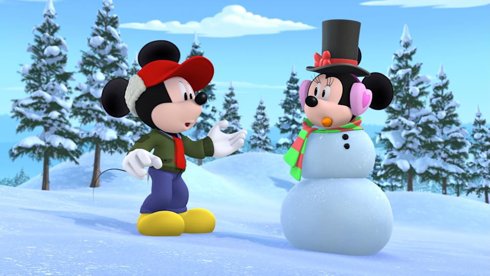 "MICKEY AND THE ROADSTER RACERS - ""Snow-Go with the Flow"" - Minnie's plans for a trip to the Swiss Alps are interrupted by the Kai family's first experience with snow. This episode of ""Mickey and the Roadster Racers"" airs Friday, November 30 (9:30 A.M. ET/PT) on Disney Junior. (Disney Junior via Getty Images) MICKEY, MINNIE"
