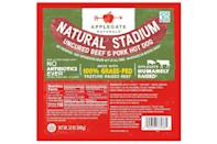 """<p>Calories: 110<br>Fat: 9 grams<br>Sodium: 360 milligrams<br>Cholesterol: 30 milligrams</p> <p>Applegate Naturals Stadium Beef and Pork Hot Dogs are made mostly of beef, pork and water. Other than that, it's spices and the lamb casing. A good casing gives hot dogs that classic snap, which is one of those <a href=""""https://www.thedailymeal.com/cook/restaurant-secrets-every-home-cook-should-know-gallery?referrer=yahoo&category=beauty_food&include_utm=1&utm_medium=referral&utm_source=yahoo&utm_campaign=feed"""" rel=""""nofollow noopener"""" target=""""_blank"""" data-ylk=""""slk:restaurant secrets home cooks should know"""" class=""""link rapid-noclick-resp"""">restaurant secrets home cooks should know</a>.</p>"""