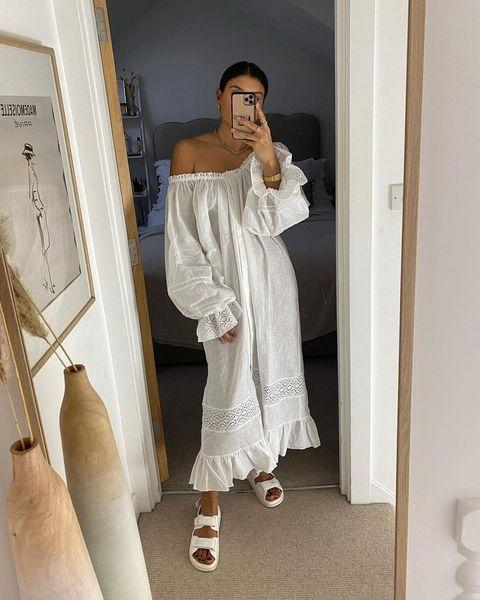 """<p>For that chic nightgown look, Sleeper is the brand for you. Its linen dresses and off-the-shoulder silhouettes are not only cozy, but they look effortlessly stylish whether you wear them in or out of bed. </p><p><a class=""""link rapid-noclick-resp"""" href=""""https://the-sleeper.com/"""" rel=""""nofollow noopener"""" target=""""_blank"""" data-ylk=""""slk:SHOP NOW"""">SHOP NOW</a></p><p><a href=""""https://www.instagram.com/p/CNTCZcUn01J/"""" rel=""""nofollow noopener"""" target=""""_blank"""" data-ylk=""""slk:See the original post on Instagram"""" class=""""link rapid-noclick-resp"""">See the original post on Instagram</a></p>"""