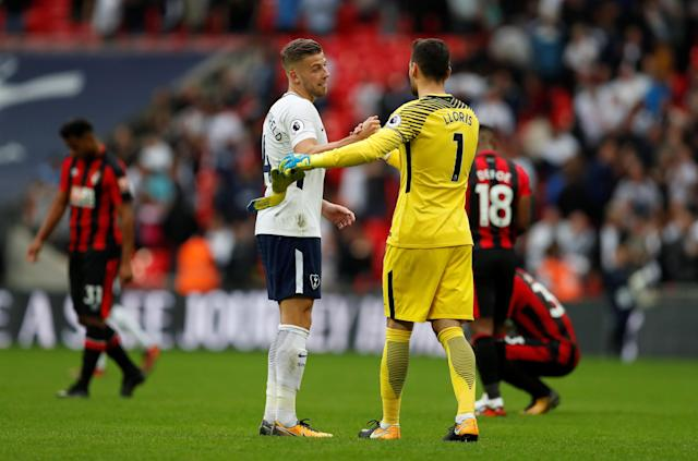 Tottenham's Hugo Lloris and Toby Alderweireld shake hands at the end of the match