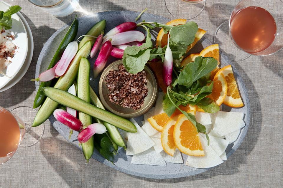 """This zesty spiced salt wakes up any sliced raw fruit or veggie—don't feel limited to the ones listed in the recipe. Set out a platter and snack all afternoon. <a href=""""https://www.epicurious.com/recipes/food/views/crudites-with-chile-lime-salt?mbid=synd_yahoo_rss"""" rel=""""nofollow noopener"""" target=""""_blank"""" data-ylk=""""slk:See recipe."""" class=""""link rapid-noclick-resp"""">See recipe.</a>"""