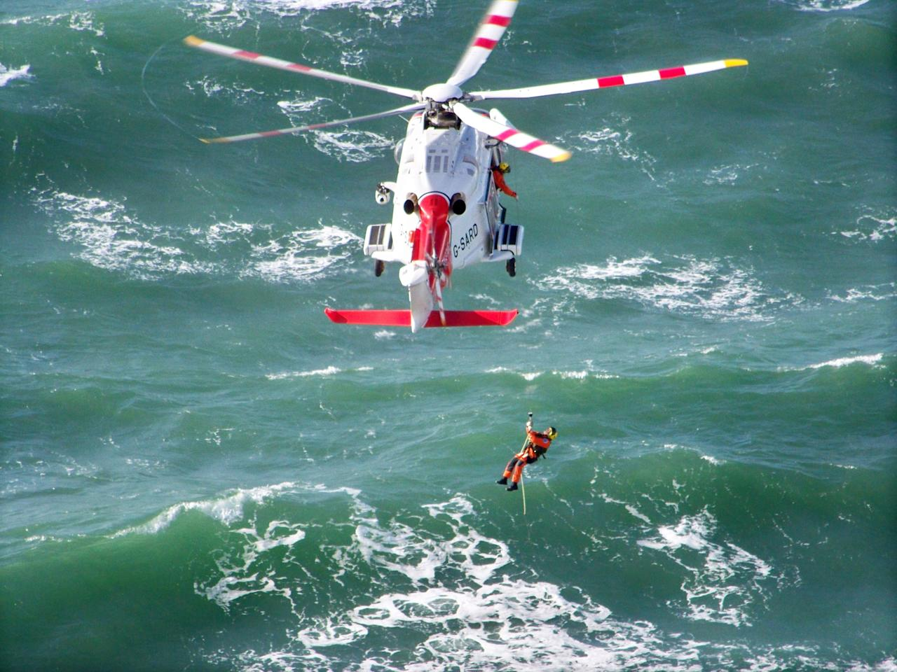 Needles Bravery, Isle of Wight: Matt Woods photographed this dramatic helicopter operation on a windy October afternoon, and was awarded first prize in the 'Living the View' youth class. (Matt Woods, Landscape Photographer of the Year)