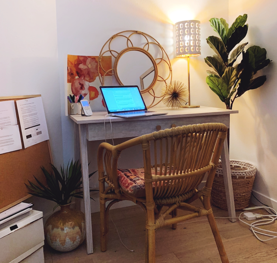 Yes, it's possible to create a calm work space at home. (Photo: Havenly)