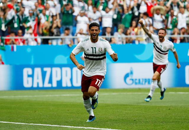Soccer Football - World Cup - Group F - South Korea vs Mexico - Rostov Arena, Rostov-on-Don, Russia - June 23, 2018 Mexico's Carlos Vela celebrates scoring their first goal REUTERS/Jason Cairnduff TPX IMAGES OF THE DAY