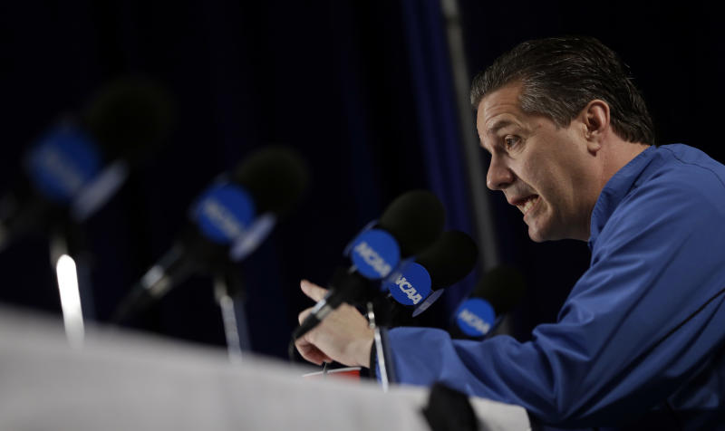 Kentucky head coach John Calipari speaks during a news conference, Saturday, March 24, 2012, in Atlanta. Kentucky is scheduled to play Baylor in the NCAA college basketball tournament South Regional finals on Sunday. (AP Photo/David J. Phillip)