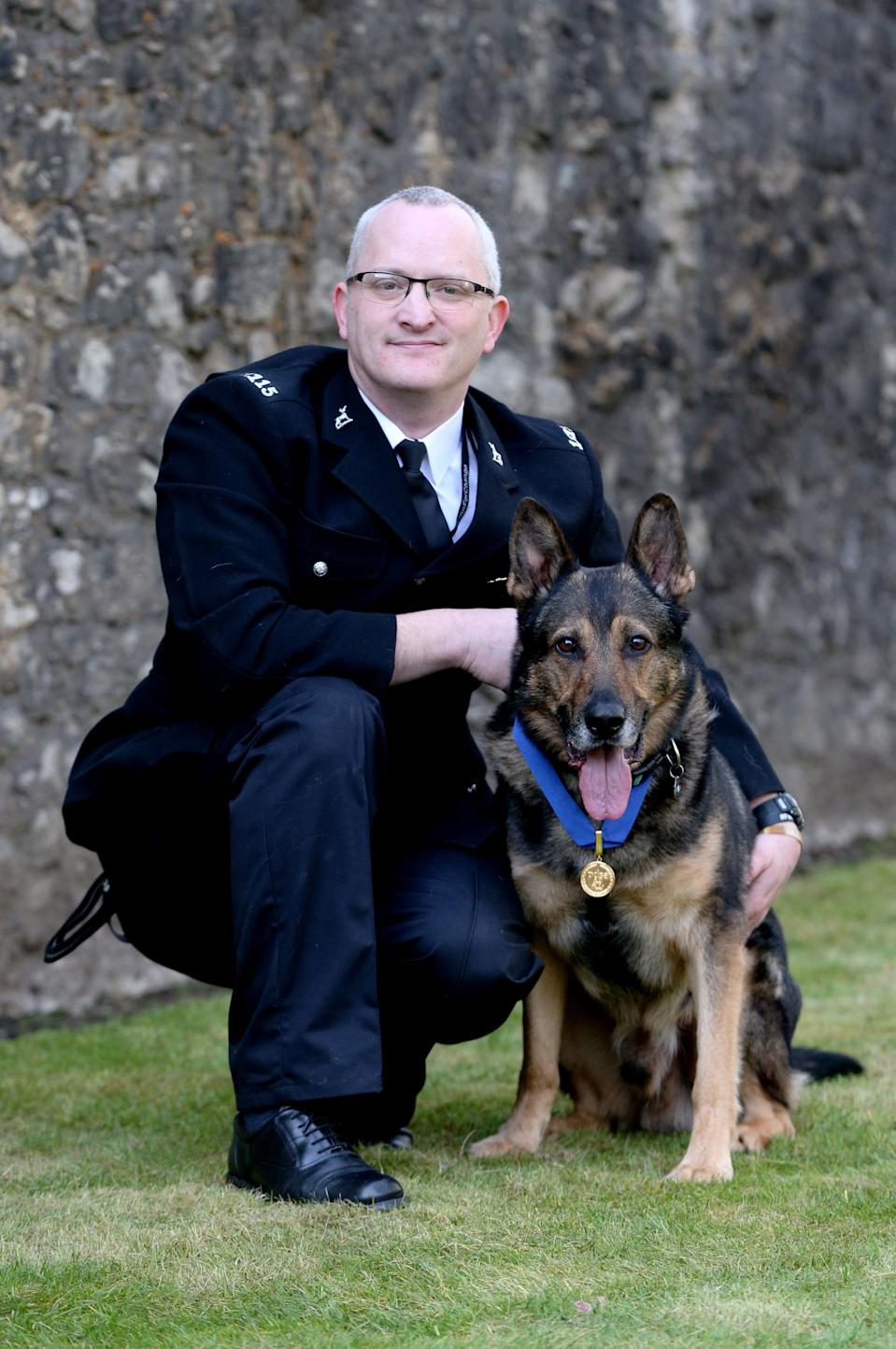 Police dog Finn with his handler. Police dogs and horses will have more protection from attacks when a new law named after the hero police dog came into force in early June