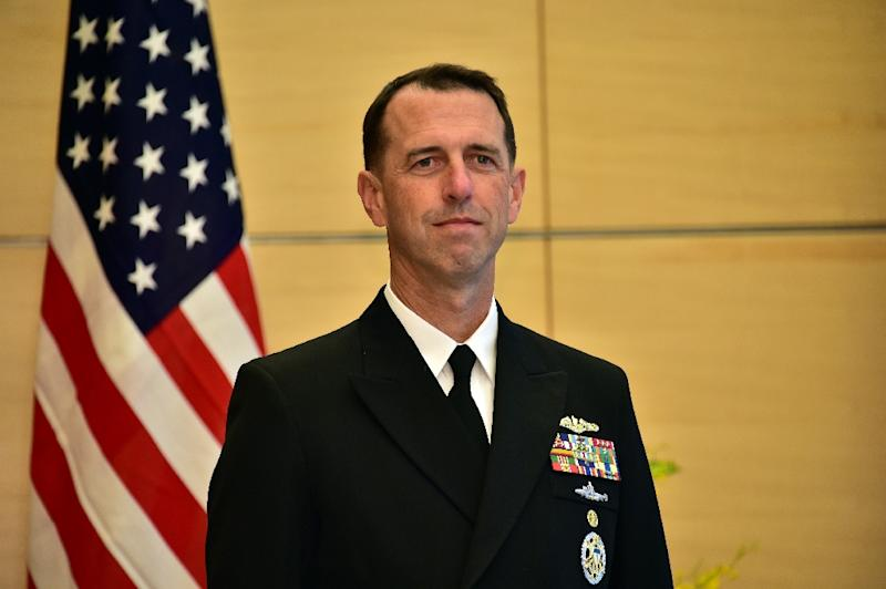 Admiral John Richardson, pictured on October 15, 2015, called on Moscow to abide by a maritime agreement, signed by US and Soviet powers in 1972, to avoid naval mishaps and prevent any such event from escalating (AFP Photo/Yoshikazu Tsuno)