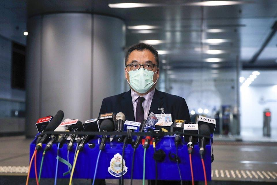 Senior Superintendent Li Kwai-wah speaks to the media about the arrests. Photo: AP