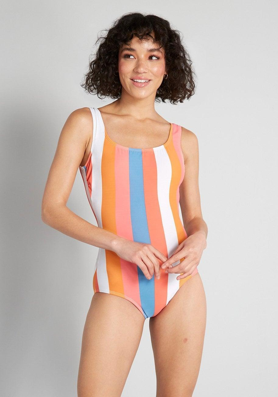 <p>With bold vertical stripes, this <span>Esther Williams The Christie One-Piece Swimsuit</span> ($79) is a 1980s dream.</p>