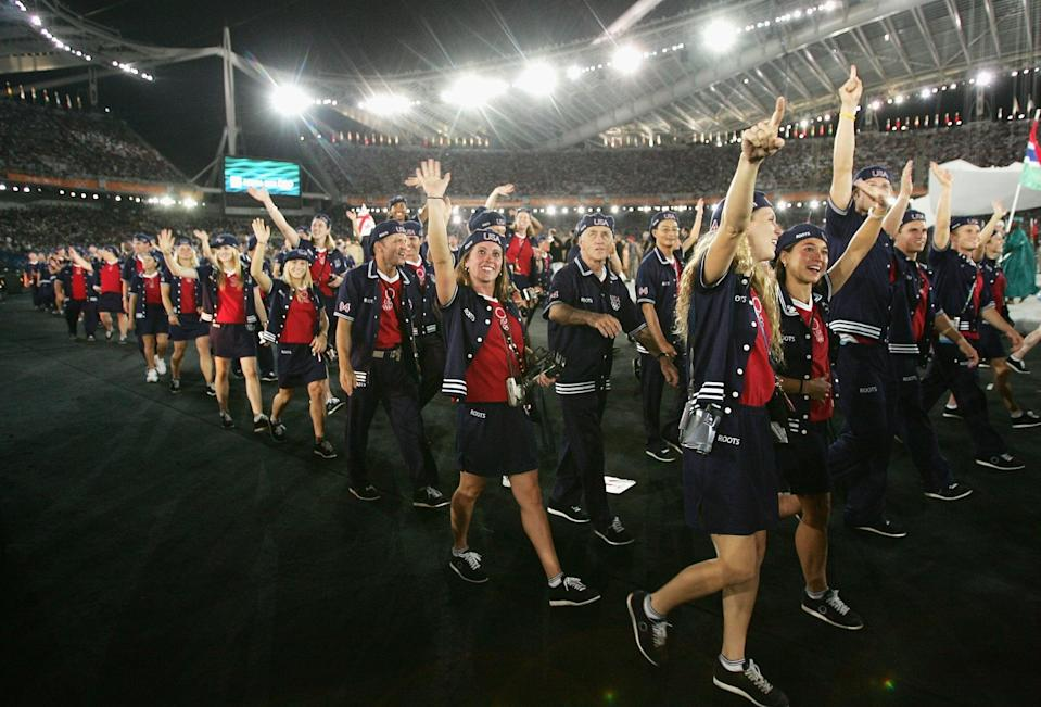 <p>The uniforms for the Athens Olympics were bright and bold, consisting of red shirts, navy Roots shorts, button-up jerseys, and patriotic USA caps. </p>