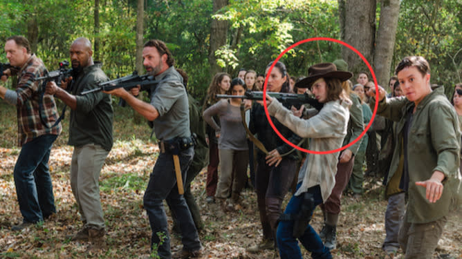 """At this point in """"The Walking Dead"""" timeline, longtime zombie hunter Carl Grimes (Chandler Riggs) could probably fire a weapon with his eyes closed, so the question is, uh, did he?"""