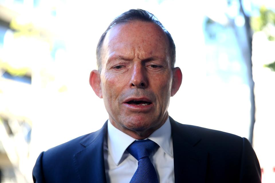 \Tony Abbott is interviewed prior to the launch of 'Life, Love & Marriage' by Christine Forster on June 11, 2020 in Sydney, Australia. (Photo by Don Arnold/WireImage)