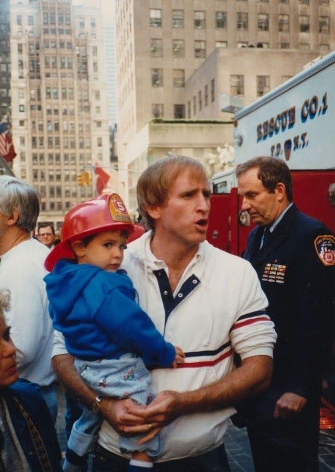 Brian with his father at Fire Prevention Day at Rockefeller Center when Brian was 2.