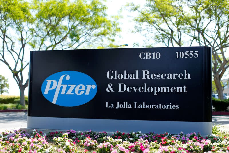 FILE PHOTO: The logo of Dow Jones Industrial Average stock market index listed company Pfizer is pictured here in La Jolla, California