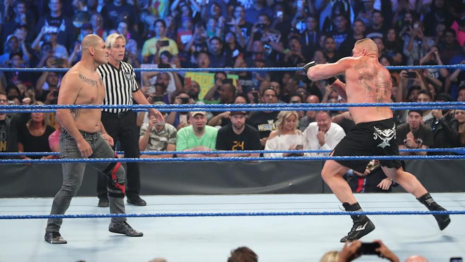 """Former UFC heavyweight champion Cain Velasquez made his WWE debut during an episode of """"Smackdown"""" on October 4, 2019. (Photo courtesy of WWE)"""