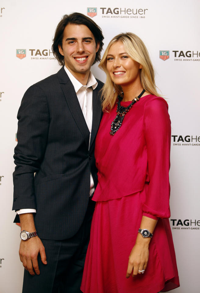 ISTANBUL TURKEY - NOVEMBER 1: Maria Sharapova and her fiance Sasha Vujacic attend the TAG Heuer Formula 1 Lady Steel and Ceramic Pavee watch launch on November 1, 2011 in Istanbul, Turkey.  (Photo by Burak Kara/Getty Images for Tag Heuer)