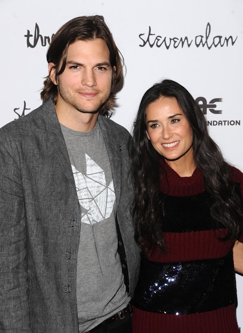 "FILE - In this April 14, 2011 file photo, Ashton Kutcher and Demi Moore attend the ""Real Men Don't Buy Girls"" launch party, to raise awareness about child sex slavery, at the Steven Alan Annex in New York.  Moore is ending her marriage to Ashton Kutcher. The 49-year-old actress said Thursday, Nov. 17, 2011, that ""it is with great sadness and a heavy heart that I have decided to end my six-year marriage to Ashton."" (AP Photo/Peter Kramer, file)"
