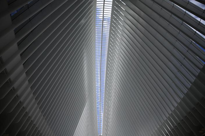 <p>One World Trade Center is visible in glass ceiling of the Oculus mall at World Trade Center on Monday, August 22, 2016. (Gordon Donovan/Yahoo News) </p>