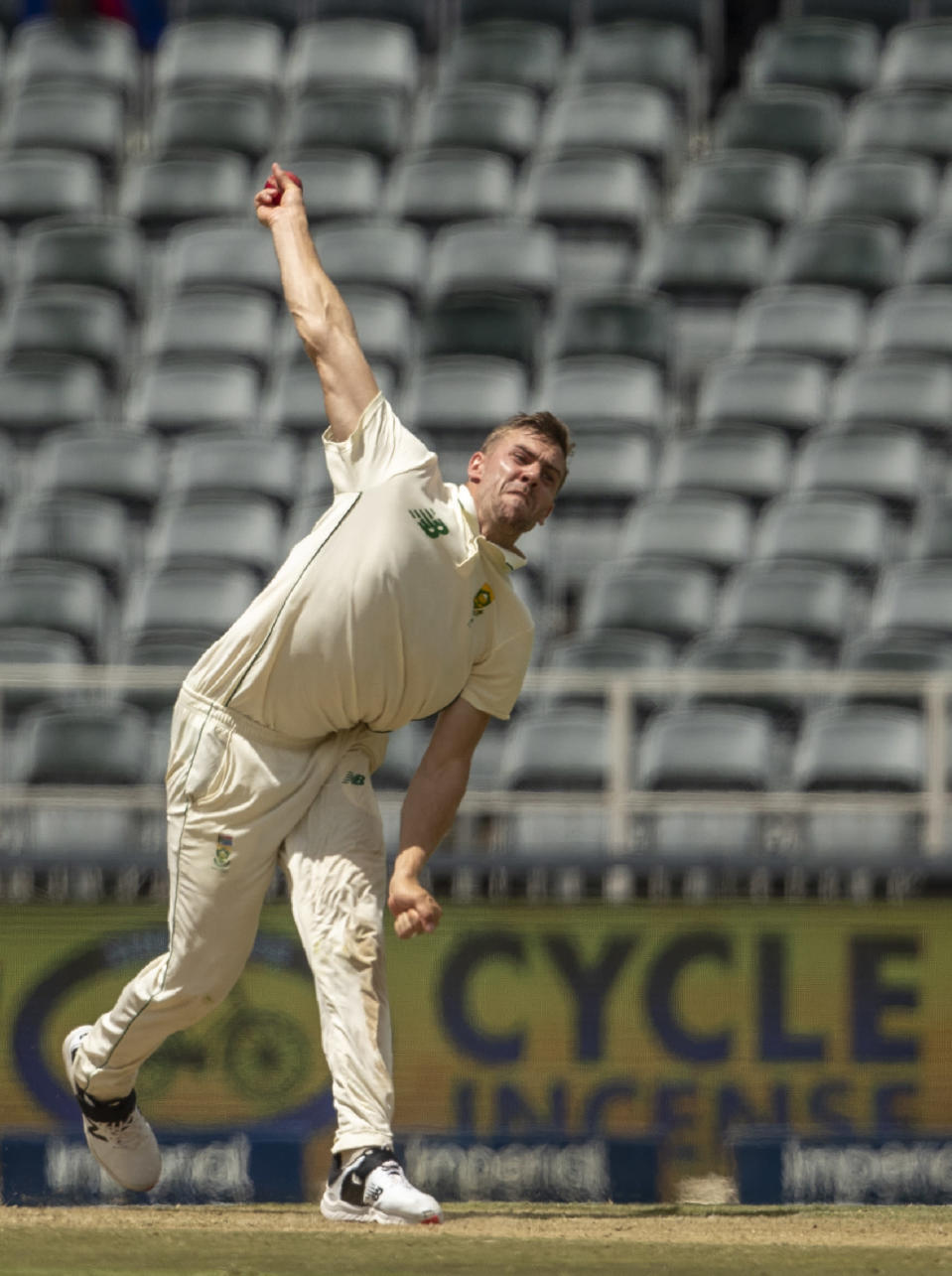 South Africa's bowler Anrich Nortje bowls during the 2nd Test cricket match between South Africa and Sri Lanka Wanderers stadium in Johannesburg, South Africa, Sunday, Jan. 3, 2021. (AP Photo/Themba Hadebe)