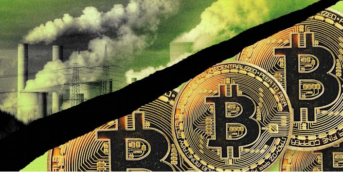 Illustration of power plant smoke stacks and Bitcoin tokens. (Chelsea Stahl / NBC News; Getty Images)
