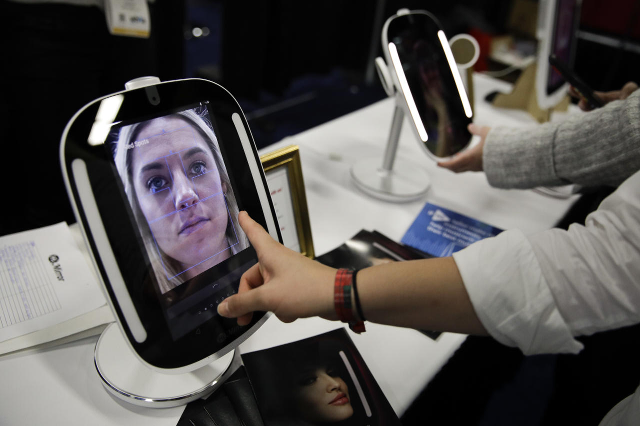 <p>The HiMirror Mini, an internet-connected smart mirror with Amazon's Alexa, was shown off at CES Unveiled. The mirror can tell users if they are looking wrinkly or if they have bags under their eyes, and offer helpful beauty tips. </p>