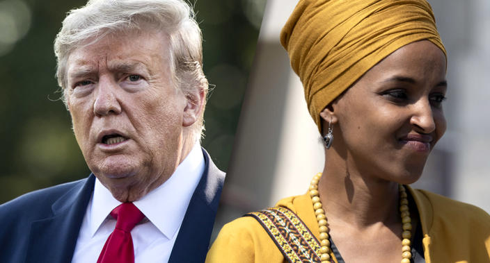 President Donald Trump and Rep. Ilhan Omar. (Photos: Jabin Botsford/The Washington Post via Getty Images, Aurora Samperio/NurPhoto via Getty Images)
