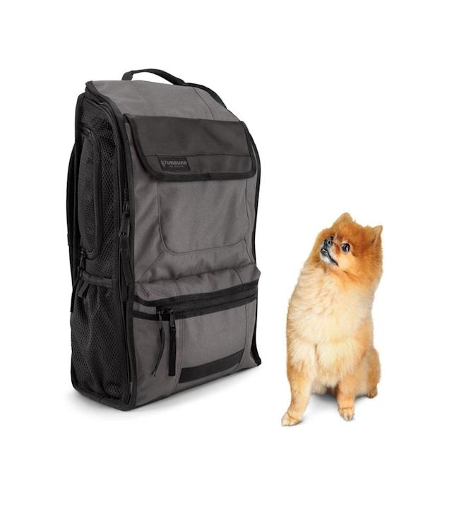 "<p>Muttmover Backpack, $118,<a href=""http://www.timbuk2.com/muttmover-dog-carrier-backpack/329-3-2220.html?category=laptop-backpacks"" rel=""nofollow noopener"" target=""_blank"" data-ylk=""slk:timbuk2.com"" class=""link rapid-noclick-resp""> timbuk2.com</a> </p>"