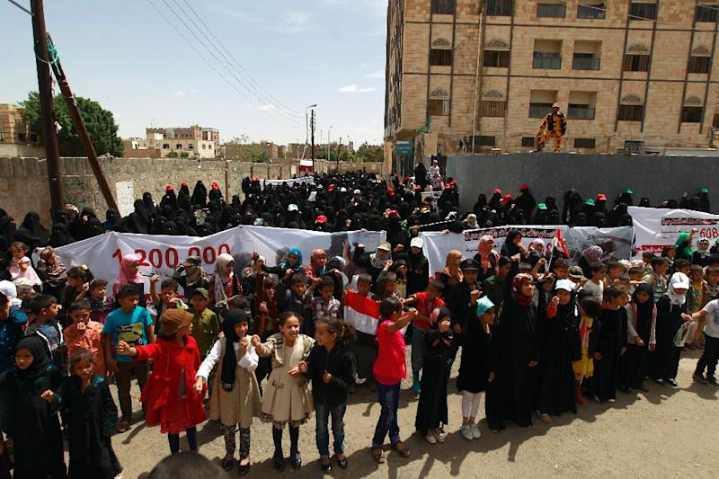 Yemeni women protest US action in Yemen on May 12, 2016, in the capital Sanaa