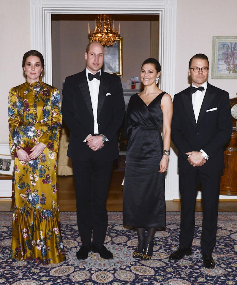 <p>To mark their second night in Stockholm, the Duke and Duchess of Cambridge attended a black tie dinner hosted by the British Ambassador. Crown Princess Victoria joined her husband Prince Daniel of Sweden in a one-shouldered gown by Swedish label, Stylein. She accessorised the look with embellished shoes courtesy of Dolce & Gabbana. <em>[Photo: Getty]</em> </p>