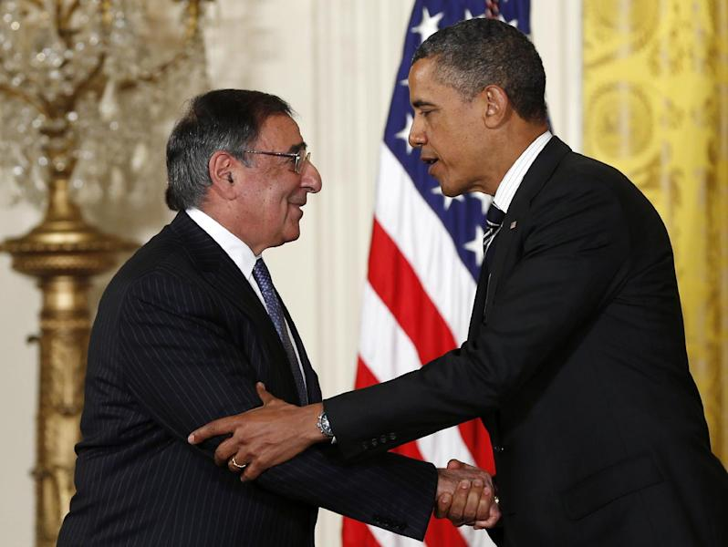 President Barack Obama shakes hands with outgoing Defense Secretary Leon Panetta, in the East Room of the White House in Washington, Monday, Jan. 7, 2013, where the president announced that he is nominating Deputy National Security Adviser for Homeland Security and Counterterrorism, John Brennan, as the new CIA director; and former Nebraska Sen. Chuck Hagel as the new defense secretary. (AP Photo/Carolyn Kaster)