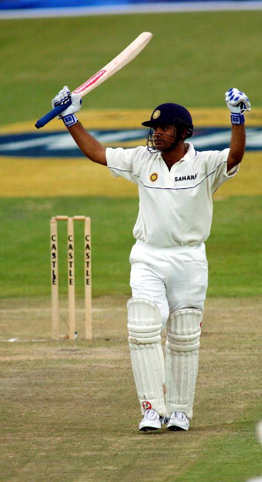 03 Nov 2001:  Verinder Sehwag of India celebrates a century on his debut during the first test match between South Africa and India in Bloemfontein, South Africa.  DIGITAL IMAGE  Touchline Photo images are available to clients in the UK, USA and Australia only. Mandatory Credit: Touchline Photo/ALLSPORT