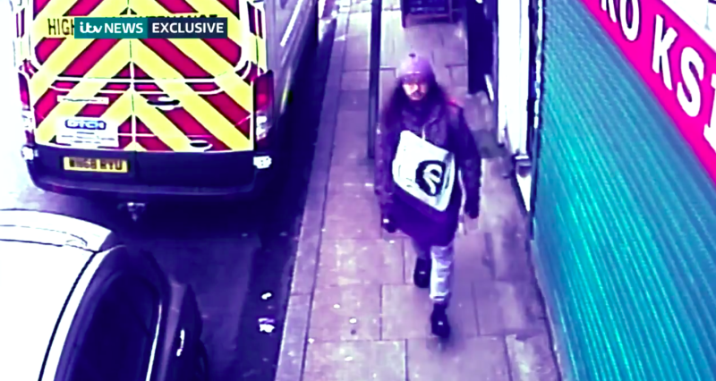 Sudesh Amman was seen walking along the street just moments before stabbing two innocent bystanders (ITV News)