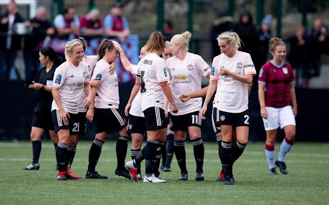 Manchester United made a strong statement of intent in their first FA Women's Championship game on Sunday with a 12-0 hammering of Aston Villa.