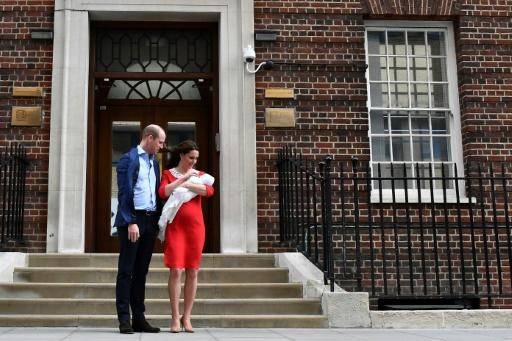 Britain's Duke and Duchess of Cambridge show their newly-born son, their third child, Prince Louis of Cambridge to the media