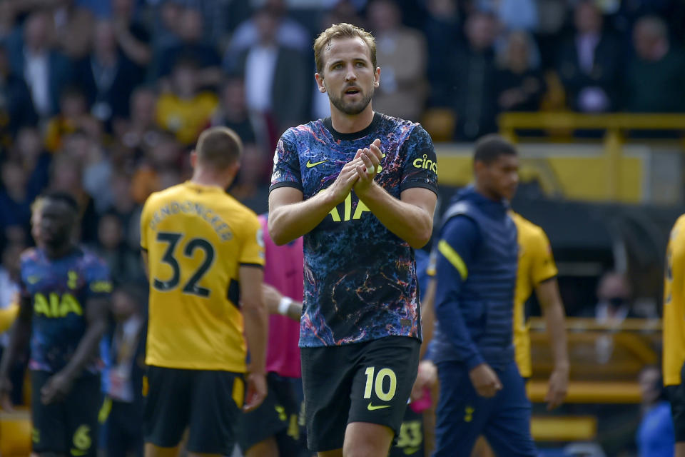Tottenham's Harry Kane walks off the pitch at the end of the English Premier League soccer match between Wolverhampton Wanderers and Tottenham Hotspur at Molineux stadium in Wolverhampton, England, Sunday, Aug. 22, 2021. (AP Photo/Rui Vieira)