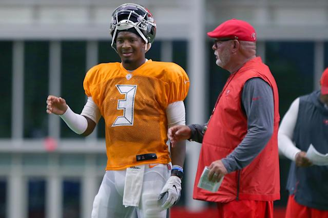 Tampa Bay coach Bruce Arians, right, said there's been no thought to benching Jameis Winston, left. (Getty Images)