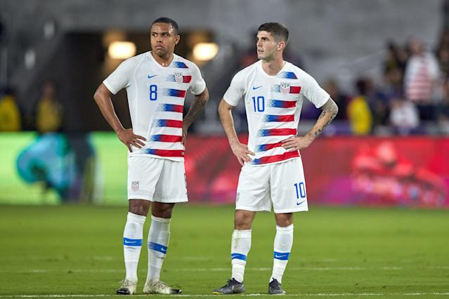 "<a class=""link rapid-noclick-resp"" href=""/soccer/players/1121556/"" data-ylk=""slk:Weston McKennie"">Weston McKennie</a> (8) and Christian Pulisic were both hobbled amid Thursday's physical match, but both are key figures in Gregg Berhalter's system. (Getty)"