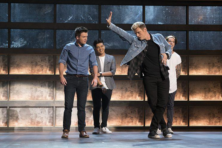 Andrew Butcher, Sergio Calderon, Nick Carter and Miles Wesley on ABC's Boy Band. (Photo Credit: Eric McCandless/ABC)