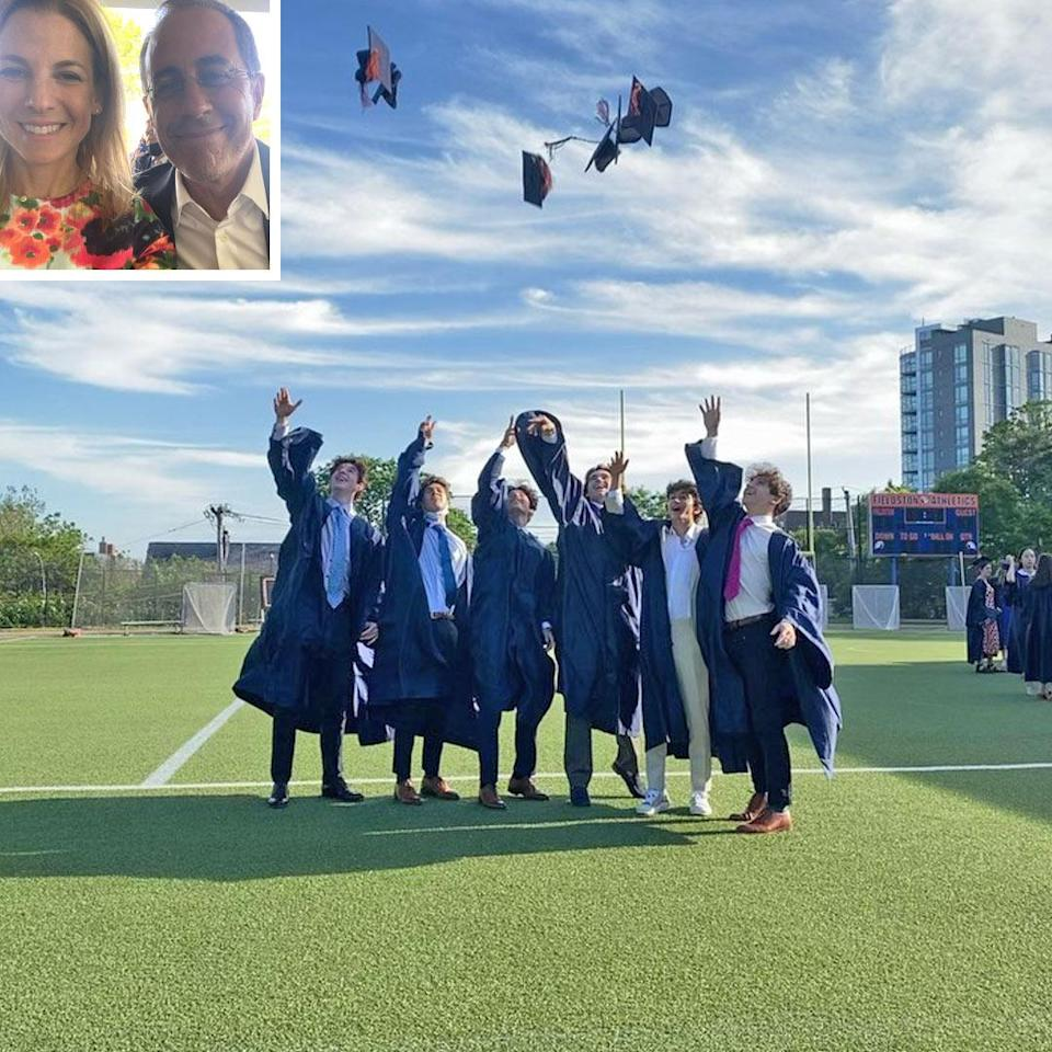 """<p>The proud mom spoke from the heart while commemorating son Julian's high school graduation, in a May 27 tribute.</p> <p>""""Cheers to the global class of 2021 and especially our very own graduate. We love you ❤️ and the lifelong friends made at the extraordinary @ecfs1878,"""" Seinfeld wrote, tagging the Ethical Culture Fieldston school in New York City. The <em>Vegan, At Times</em> <a href=""""https://people.com/food/jessica-seinfeld-new-cookbook-cover-reveal-vegan-at-times/"""" rel=""""nofollow noopener"""" target=""""_blank"""" data-ylk=""""slk:author"""" class=""""link rapid-noclick-resp"""">author</a> posted a video of Julian and pals tossing their mortarboards in the air, plus photos of her son walking below a Class of 2021 balloon arch and selfie with husband <a href=""""https://people.com/tag/jerry-seinfeld/"""" rel=""""nofollow noopener"""" target=""""_blank"""" data-ylk=""""slk:Jerry Seinfeld,"""" class=""""link rapid-noclick-resp"""">Jerry Seinfeld,</a> among others. </p> <p>""""We will miss teachers, parents, administrators and kids who have made Ethical Culture/Fieldston the joyful, caring (and complicated) place it is ... We are sad to say goodbye after 13 years to this very special school,"""" Jessica wrote.</p>"""