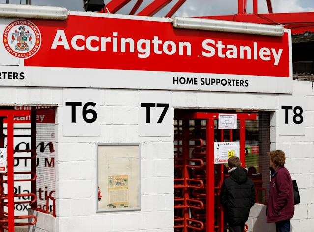 "Soccer Football - League Two - Accrington Stanley v Lincoln City - Wham Stadium, Accrington, Britain - April 28, 2018 Fans wait outside Action Images/Andrew Boyers EDITORIAL USE ONLY. No use with unauthorized audio, video, data, fixture lists, club/league logos or ""live"" services. Online in-match use limited to 75 images, no video emulation. No use in betting, games or single club/league/player publications. Please contact your account representative for further details."