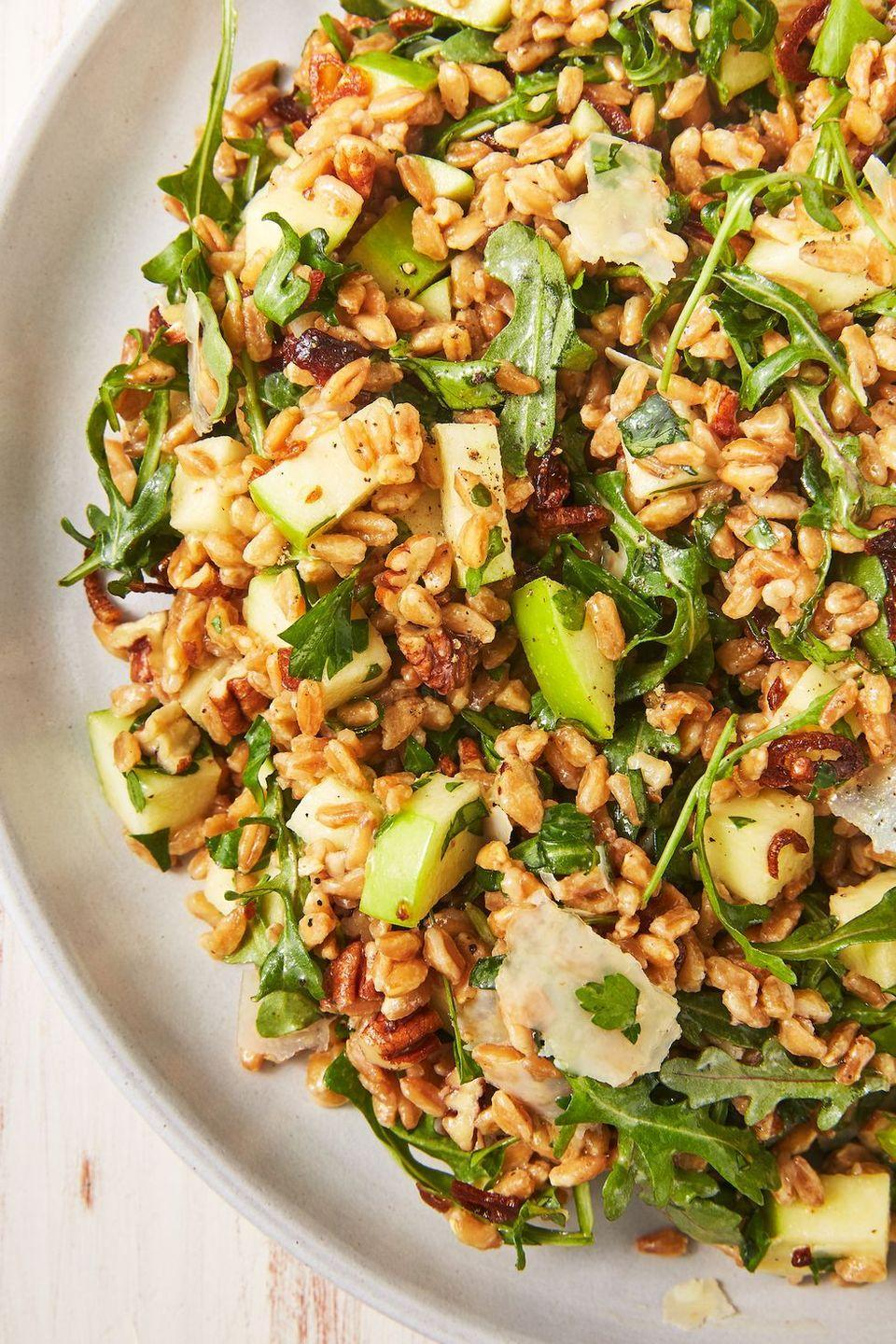 """<p>Sure, boiling farro in water is fine. But boiling water in stock is SO much more flavourful. We like adding a bay leaf too, but feel to add your favourite hearty herbs like rosemary or thyme. </p><p>Get the <a href=""""https://www.delish.com/uk/cooking/recipes/a29891118/best-farro-salad-recipe/"""" rel=""""nofollow noopener"""" target=""""_blank"""" data-ylk=""""slk:Farro Salad"""" class=""""link rapid-noclick-resp"""">Farro Salad</a> recipe.</p>"""