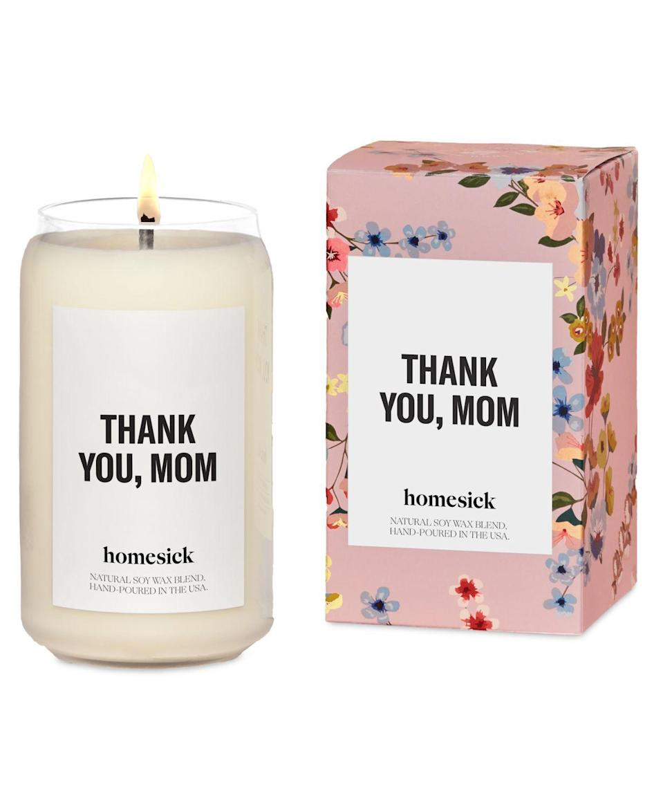 """<p><strong>Homesick</strong></p><p>Amazon</p><p><strong>$34.00</strong></p><p><a href=""""https://www.amazon.com/Homesick-Thank-You-2020-Version/dp/B088SLT1KK?tag=syn-yahoo-20&ascsubtag=%5Bartid%7C2089.g.31246132%5Bsrc%7Cyahoo-us"""" rel=""""nofollow noopener"""" target=""""_blank"""" data-ylk=""""slk:Shop Now"""" class=""""link rapid-noclick-resp"""">Shop Now</a></p><p>As a new mom, that first year can be a whirlwind of both wonderful and difficult times. The best comforting thing that you can tell a new mom is <em>thank you. </em></p><p>With uplifting floral notes like lavender and white lily, this sweet candle from Homesick reminds the new mom in your life that everyone is thankful for all that she does. </p>"""