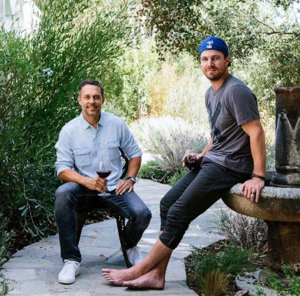 PHOTO: Nocking Point Wines co-founders Andrew Harding and Stephen Amell. (Nocking Point Wines)